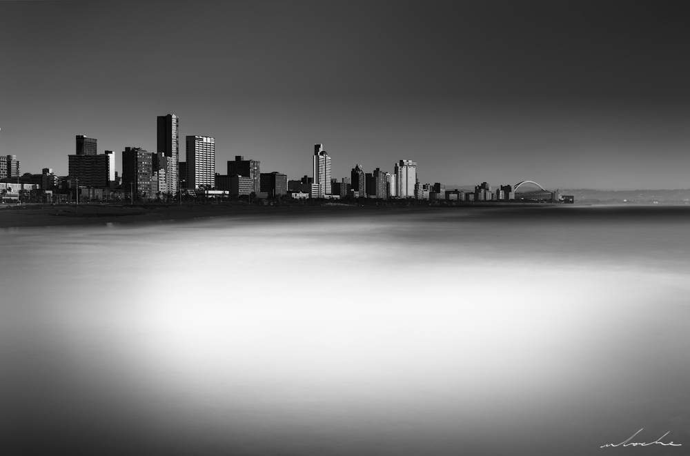 Durban Skyline, black and white