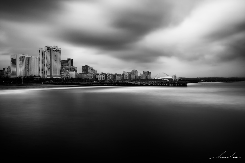 Durban Skyline 2 black and white