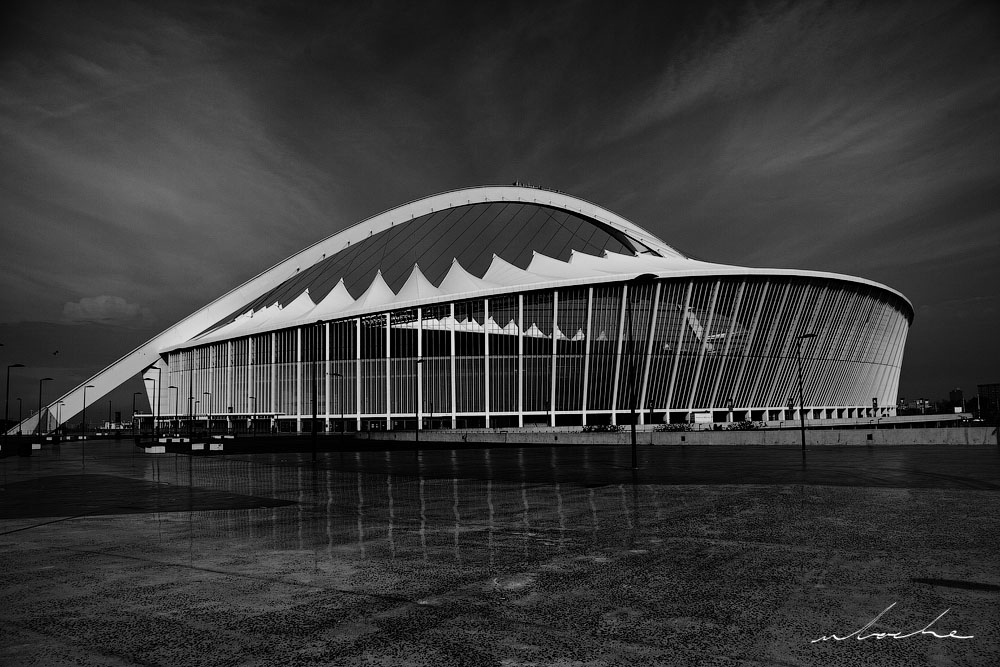 Moses Mabhida Stadium, black and white