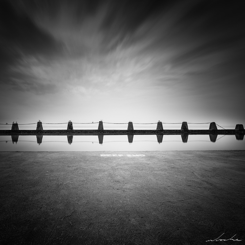 Brighton beach tidal pool, black and white
