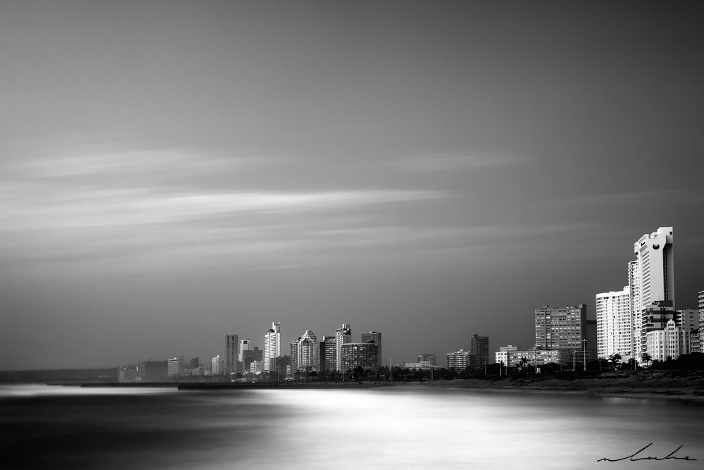 Durban Skyline 3 black and white